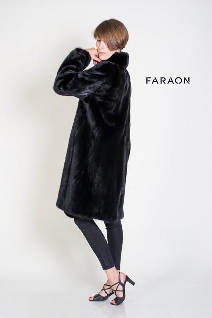 Норкове пальто накладні кармани в розпуск