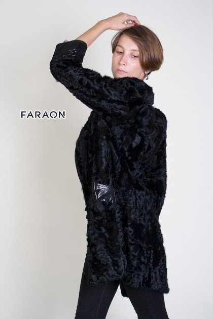 Пальто каракуль чорний
