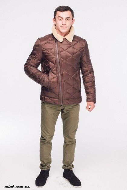 771(62) пуховик чоловічий стьоганий коричневий