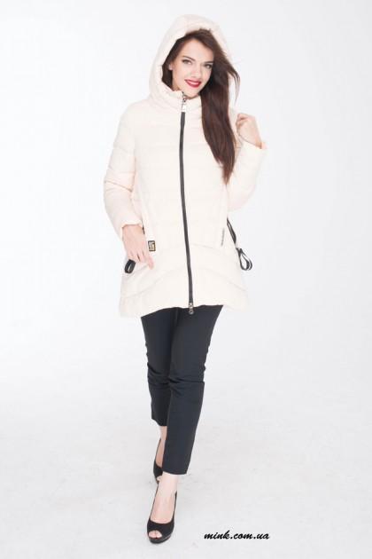 15017(39) пуховик жіночий білий спорт петля на карманах