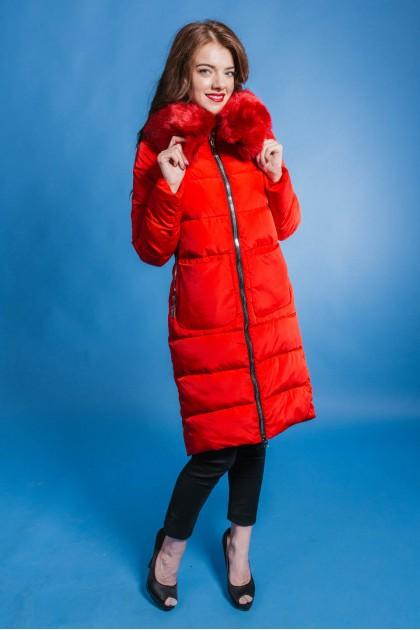 073 пуховик жіночий червоний хутро