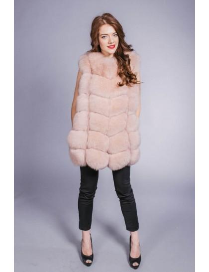 Жилетка коротка ялинка рожева перлина