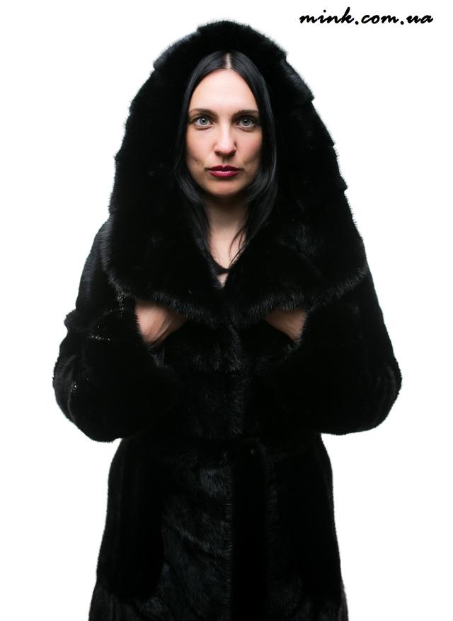 шуба норковая, чёрная, женская одежда, шуба с капюшоном норковая, Фараон