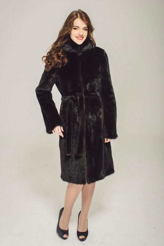 Норковая шуба классика 90 см, махагон, шуба с капюшоном, женская одежда