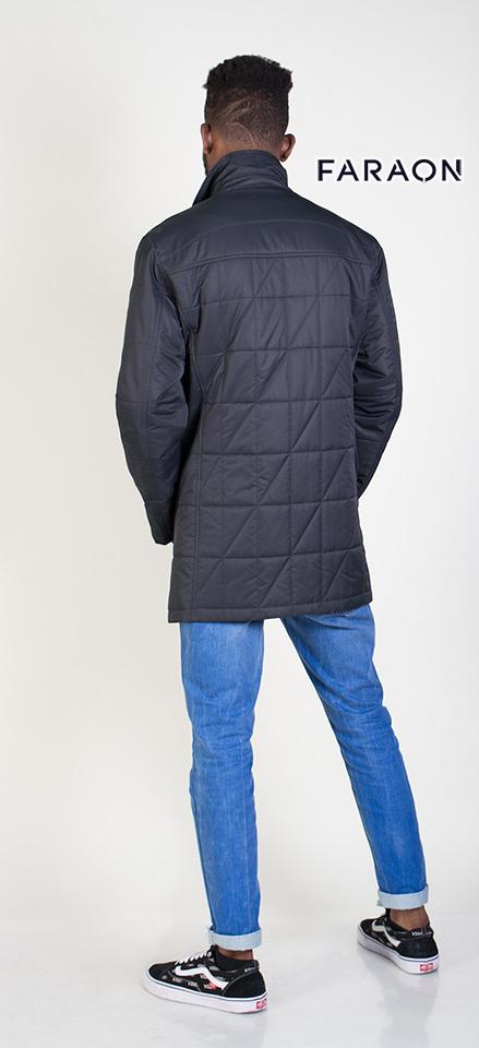Куртка 2017 мужская осенняя удлинённая  воротник стойка тёмно синего цвета