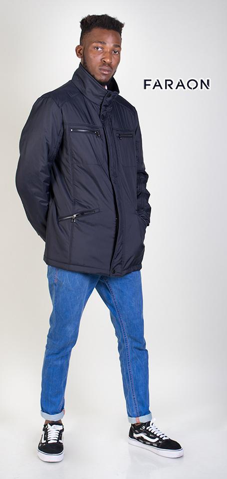 Куртка мужская осенняя удлинённая стойка воротник карманы на молнии