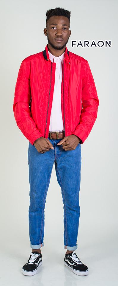 Купить куртку мужской ярко красного цвета воротник стойка под резинку