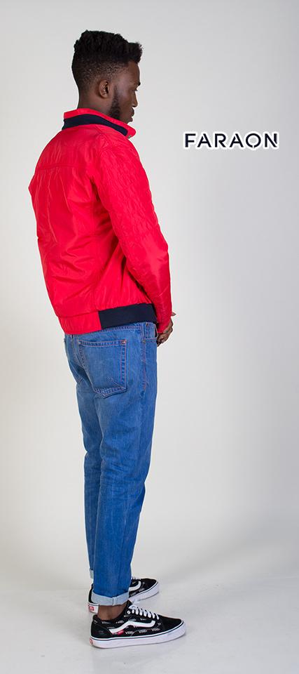 Куртка мужская осенняя короткая красного цвета, куртка мужская демисезонная под резинку