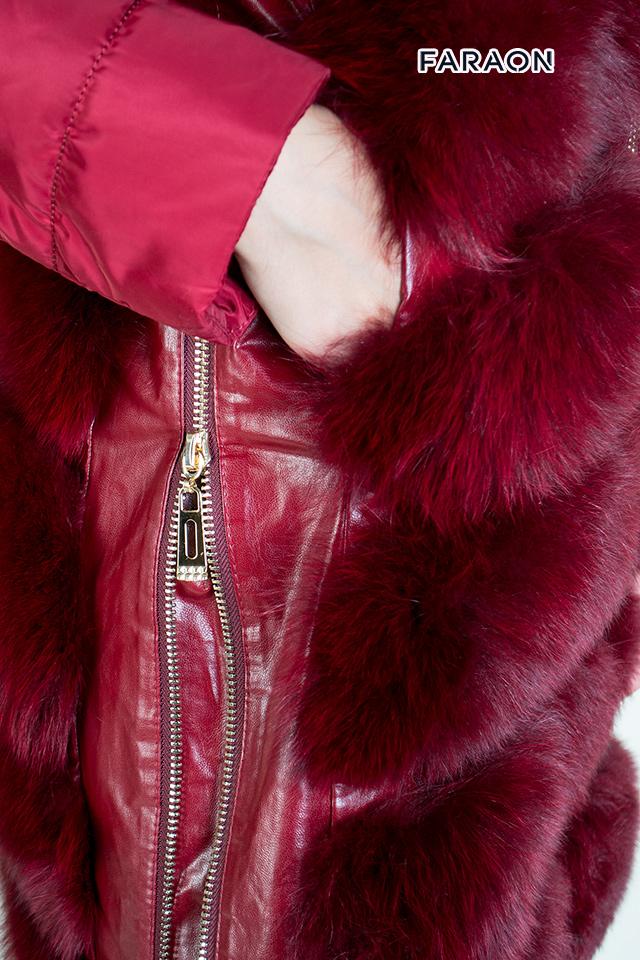 Купить пуховик женский зимний молодёжный трансформер с отделкой из натурального меха