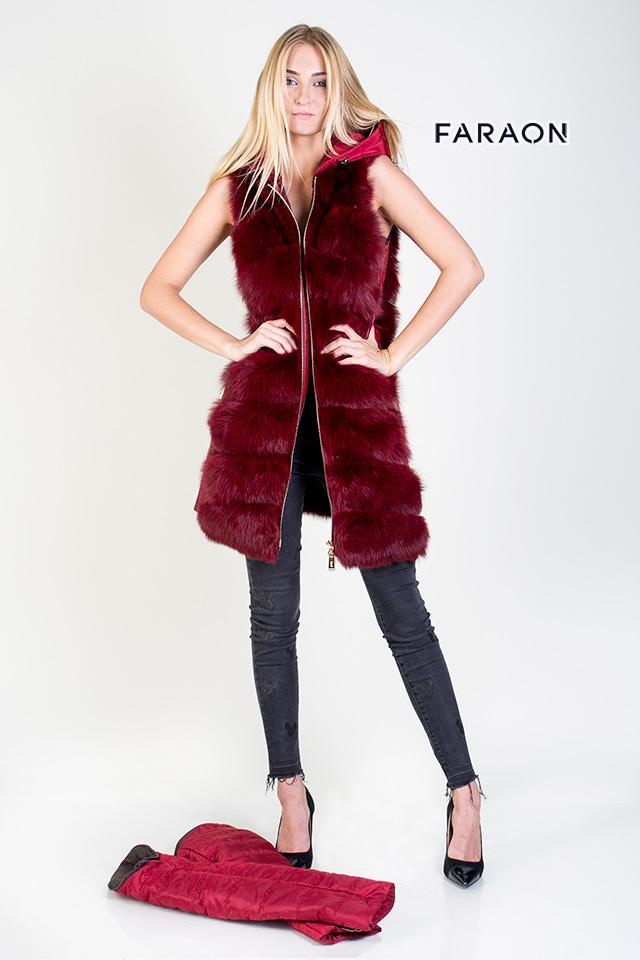 Купить пуховик женский зимний рукав съёмный, пуховик женский из натурального меха песца поперечка