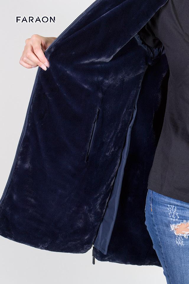 Пуховик женский зимний двухсторонний синего цвета