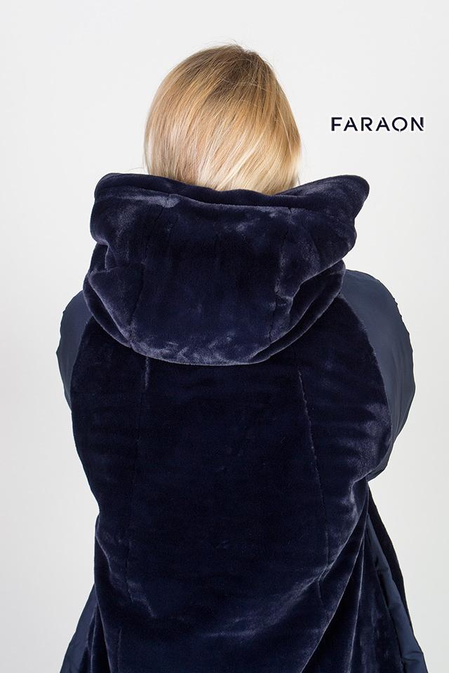 Пуховик женский зимний двухсторонний синего цвета тёплый