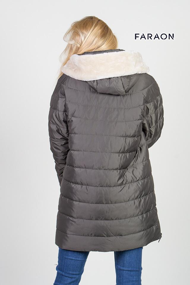 Пуховик женский зимний средней длины капюшон с  искусственным мехом цвет хаки