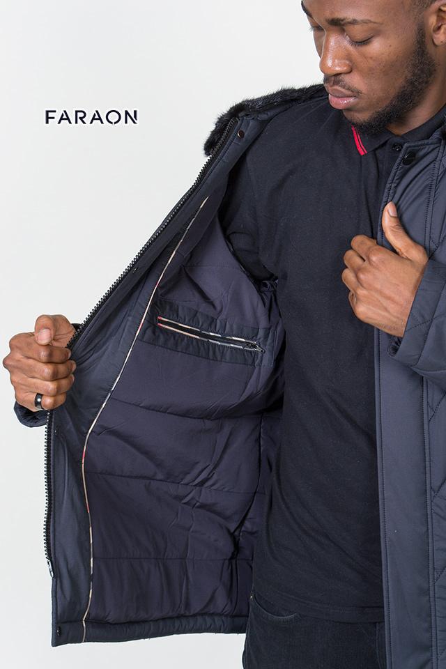 Мужская зимняя куртка на биопухе, зимняя мужская куртка без капюшона,мужской пуховик с воротником из меха норки.