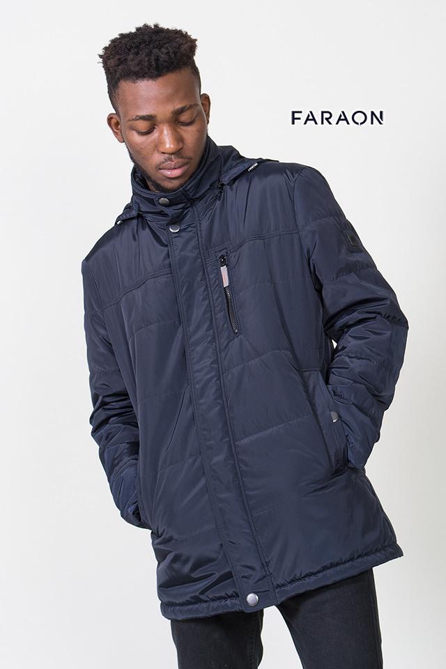 Куртка мужская синего цвета с капюшоном удлинённая демисезонная