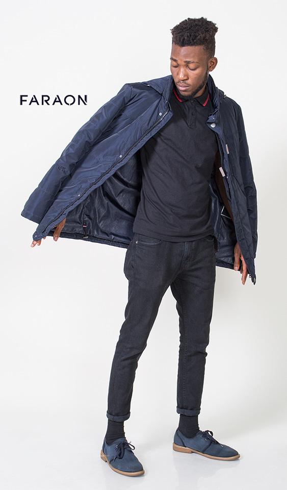 Куртка мужская осенняя с капюшоном облегчённая синего цвета