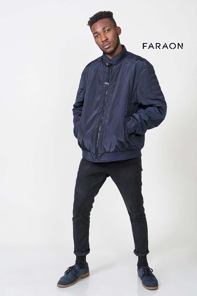 Куртка мужская осенняя синего цвета воротник стойка на манжете из трикотажа
