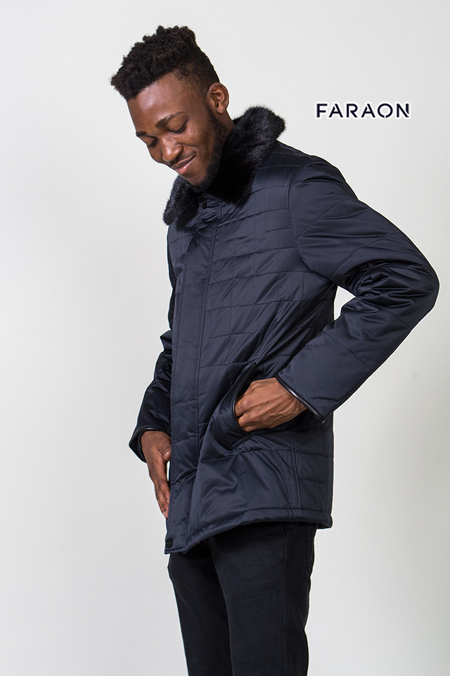 Куртка мужская зимняя воротник с меха норки стильная
