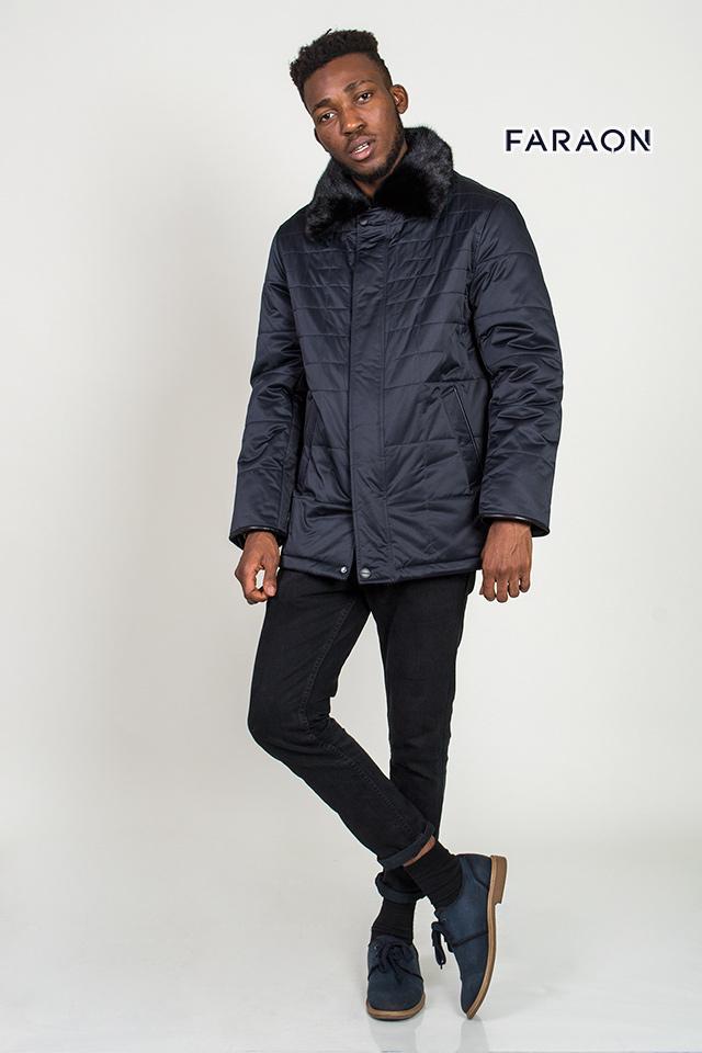 Куртка мужская зимняя лёгкая воротник с меха норки стильная