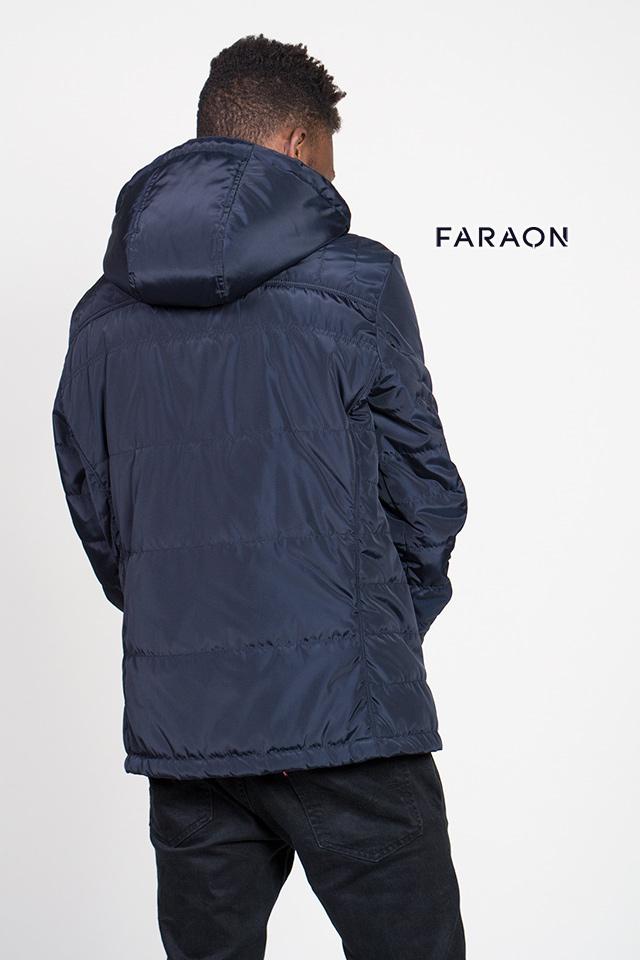 Куртка мужская осенняя с капюшоном молодёжная синего цвета