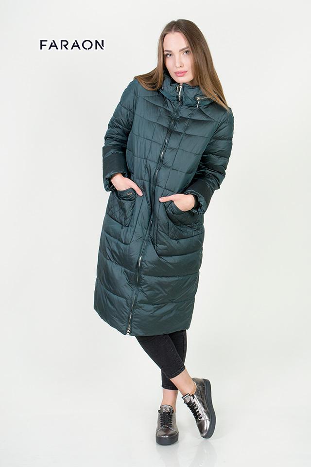 Пальто женское стеганое со скрытым капюшоном, женское зимнее пальто ниже колена.