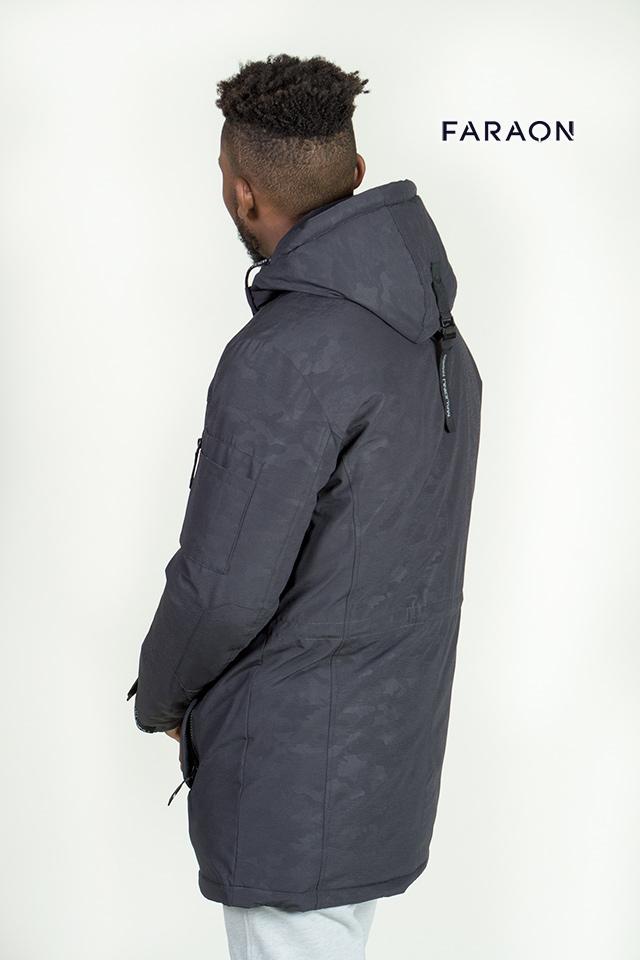 Пуховик мужской удлинённый тёмно серого цвета  лёгкий тёплый с капюшоном