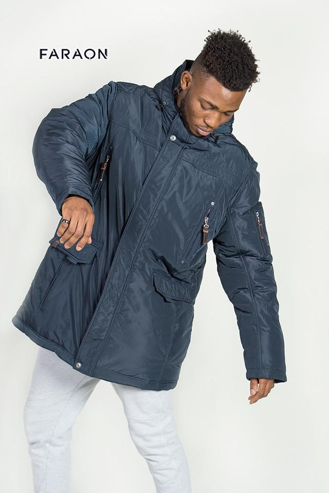 Мужская зимняя куртка с капюшоном, мужская куртка удлиненная зимняя.