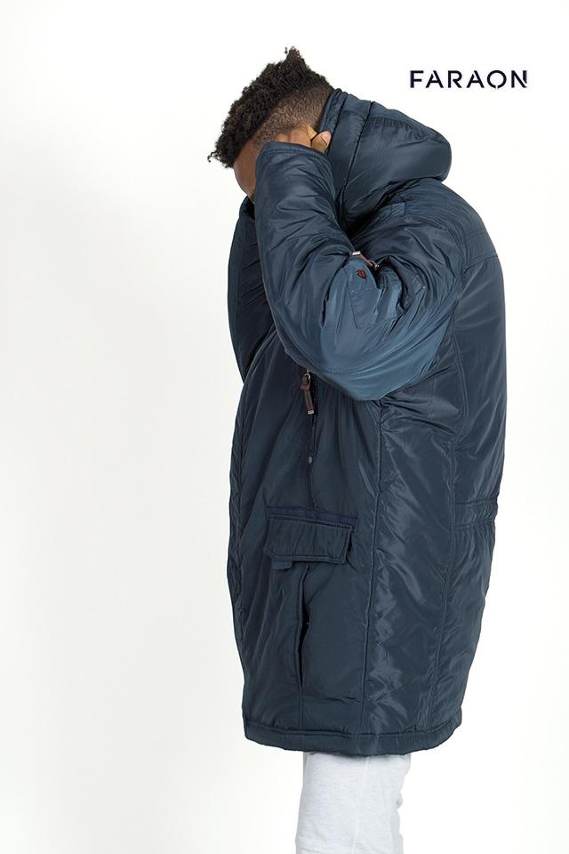 Пуховик 2017 мужской удлинённый с капюшоном  тёмно синего цвета тёплый