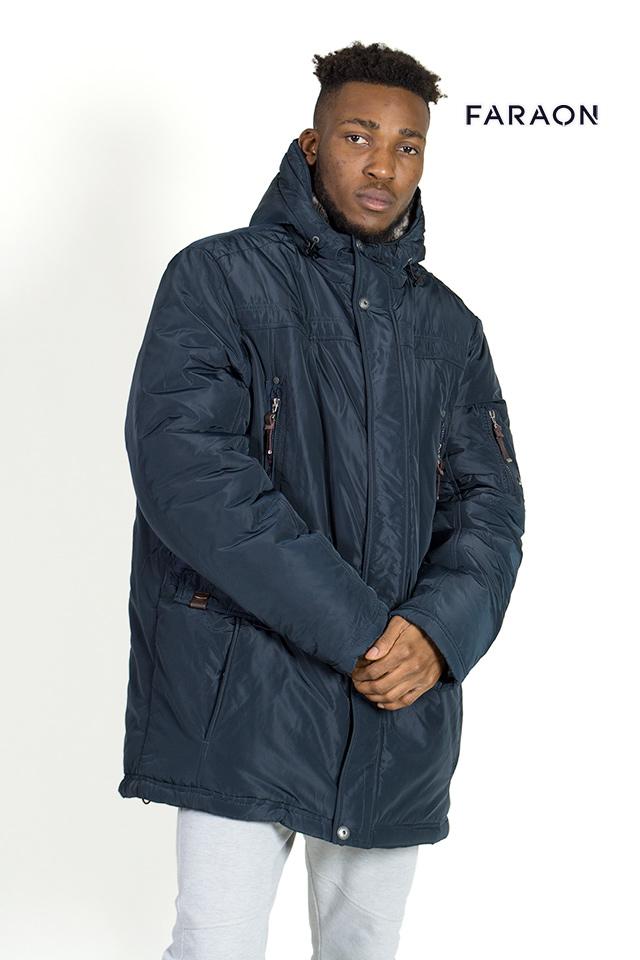 Купить пуховик мужской недорого тёплый с капюшоном тёмно синего цвета