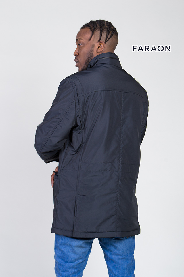 Куртка демисезонная мужская, синего цвета, удлинённая, воротник стройка,лёгкая, стильная