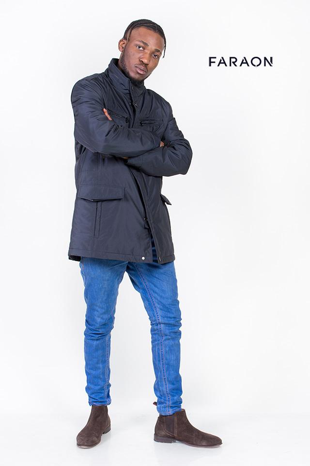 Ветровка мужская, удлинённая, лёгкая, чёрного цвета, воротник стройка,карманы накладные