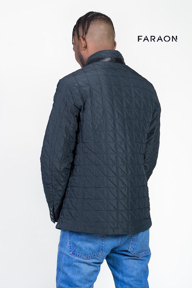 Мужская демисезонная куртка, синего цвета, с оригинальной отсрочкой,воротник стойка