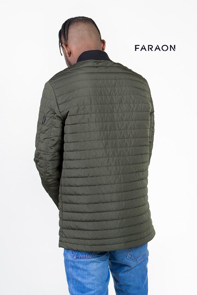 Куртка демисезонная мужская, бомбер, средней длины, воротник стройка трикотажный, цвет хаки