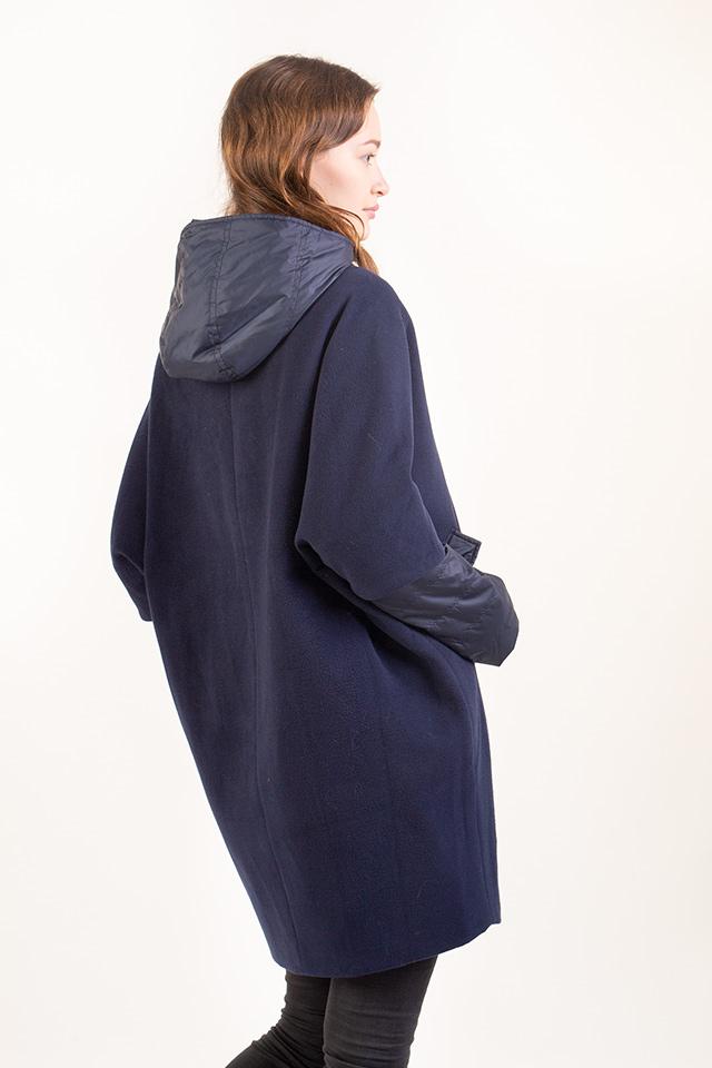 Демисезонное женское пальто синего цвета утепленное, женское пальто - трансформер, женское пальто кроя оверсайз.