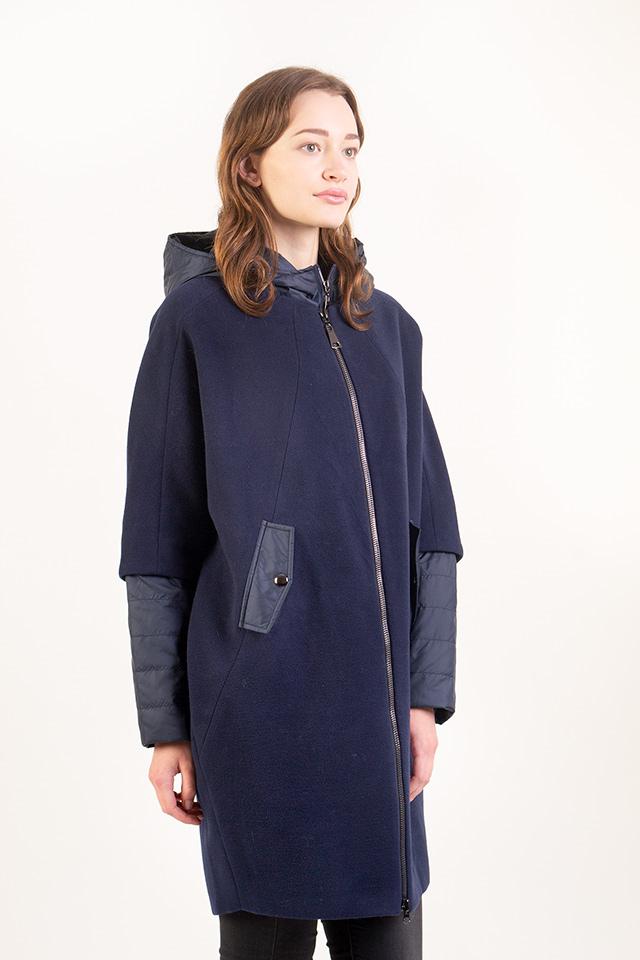 Женское пальто-трансформер утепленное, демисезонное женское пальто-оверсайз синее, пальто-трансформер женское с капюшоном.