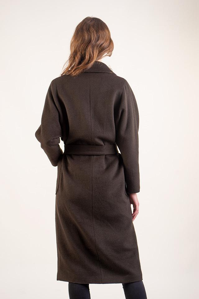 Класическое женское пальто.Женское демисезонное пальто прямого кроя под пояс.Женское удлиненное пальто цвета хакки