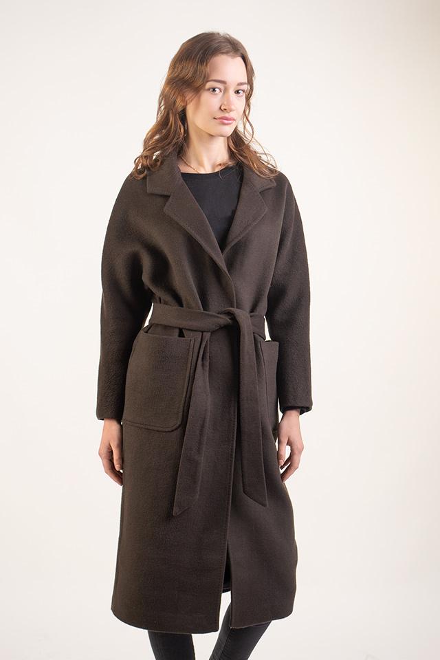Женское класическое пальто под пояс.Пальто женское с накладными карманами цвета хаки прямого кроя.Состав-шерсть и нейлон.