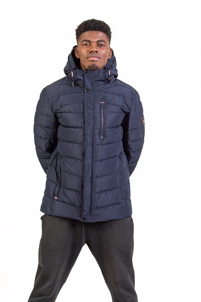 Пуховик мужской молодёжный спортивного плана с капюшоном синего цвета наполнитель биопух