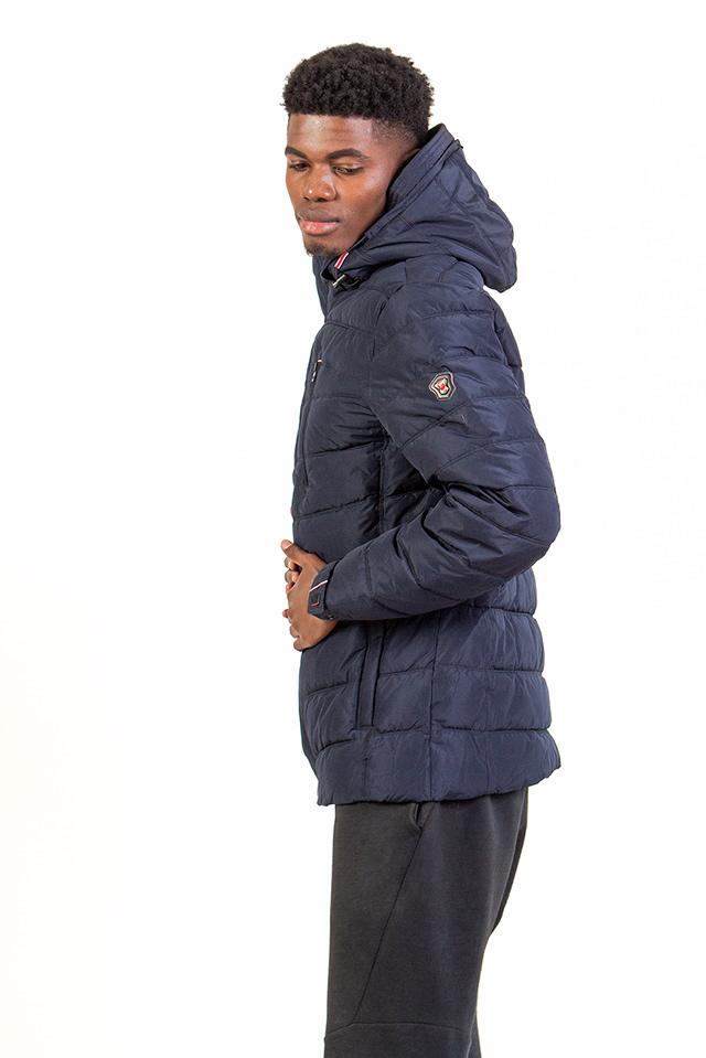 Мужской пуховик на синтетическом утеплителе, спортивный мужской пуховик с капюшоном синий, стеганая зимняя мужская куртка.