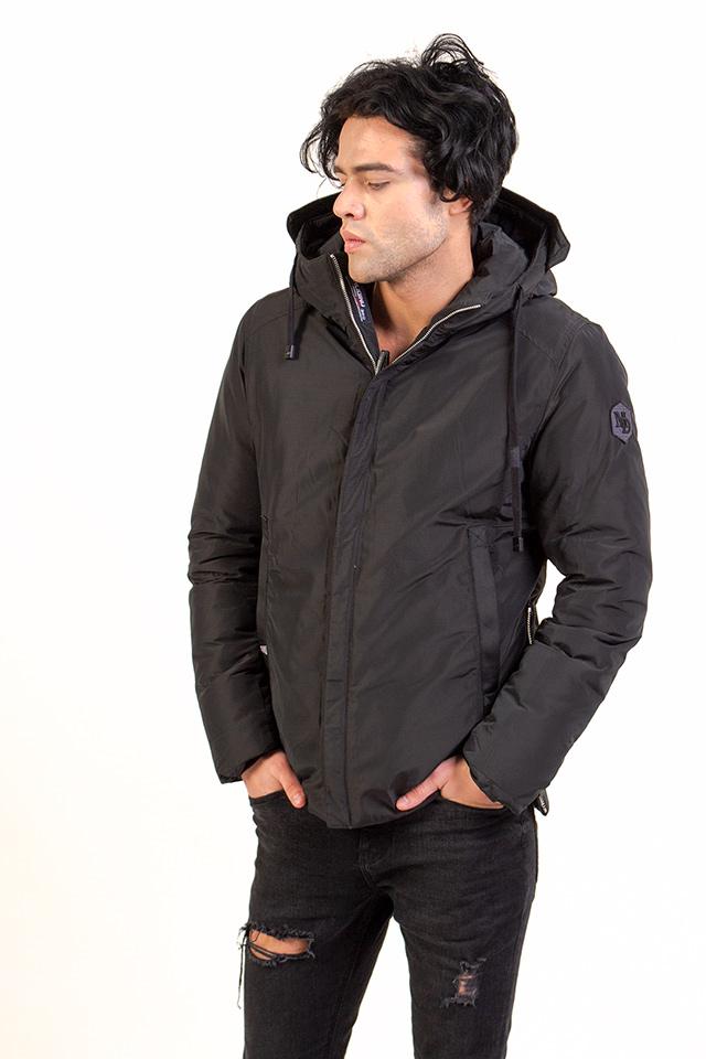 Пуховик мужской молодёжный цвет хаки с капюшоном карманы на молнии