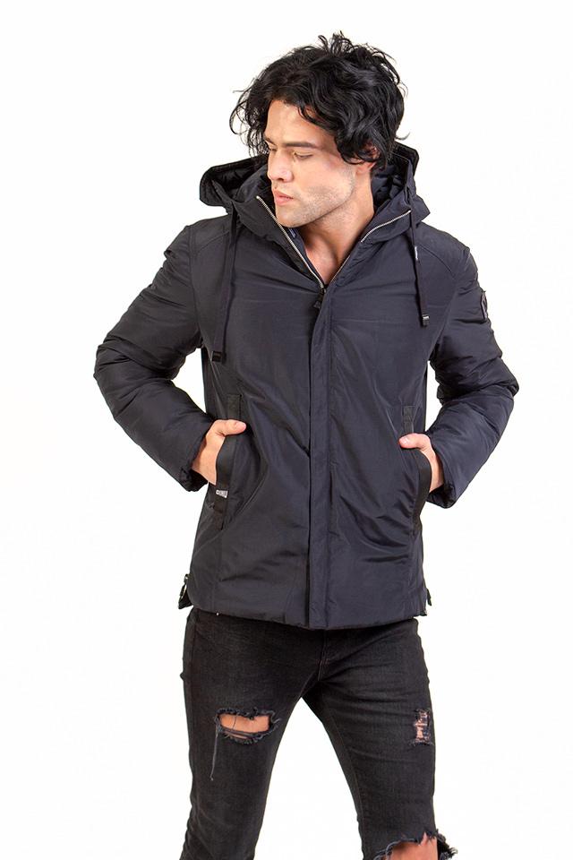 Мужская зимняя куртка короткая, пуховик мужской на тинсулейте с капюшоном, синяя зимняя мужская куртка.