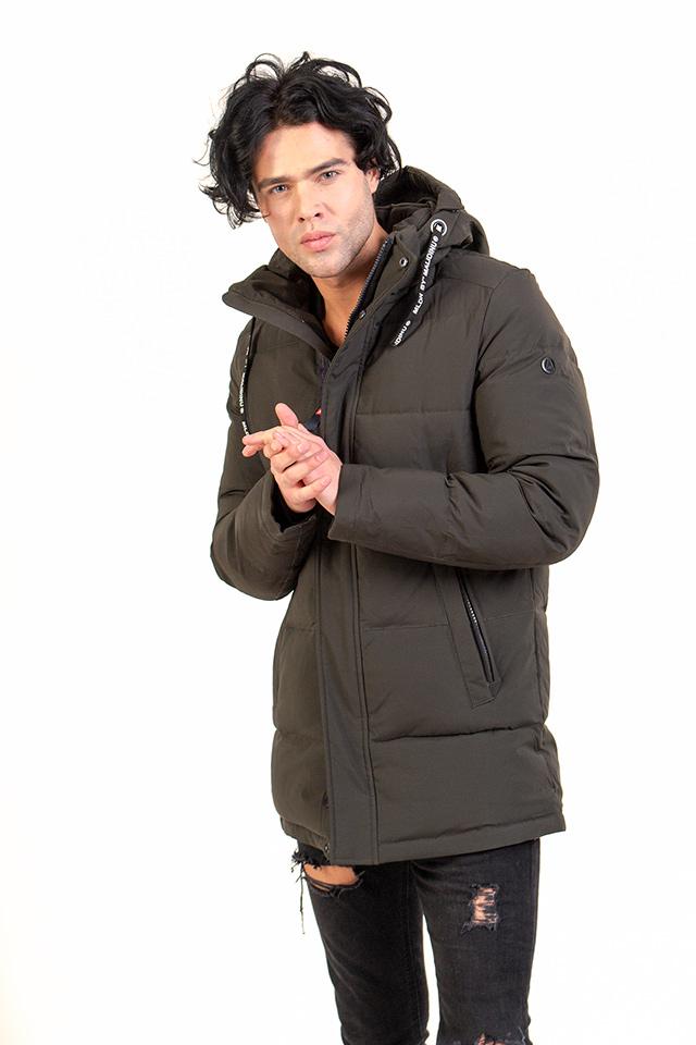 Пуховик мужской цвет хаки с капюшоном карманы на молнии средней длины