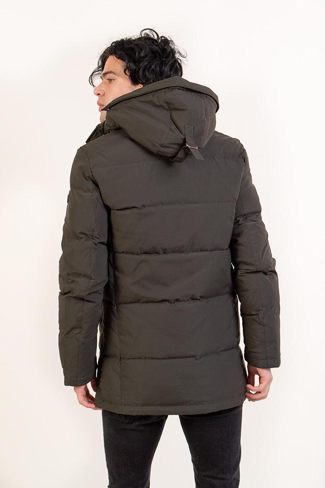 Пуховик мужской тёплый цвет хаки с капюшоном средней длины карманы на молнии
