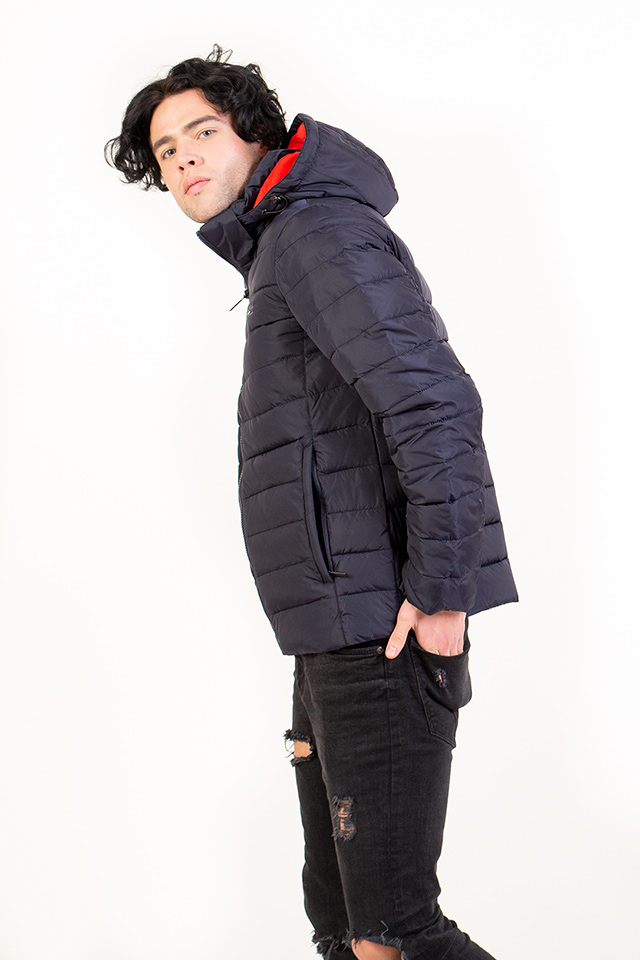 Зимняя спортивная мужская куртка с капюшоном,стеганый мужской пуховик синего цвета,зимний пуховик на био-пухе.