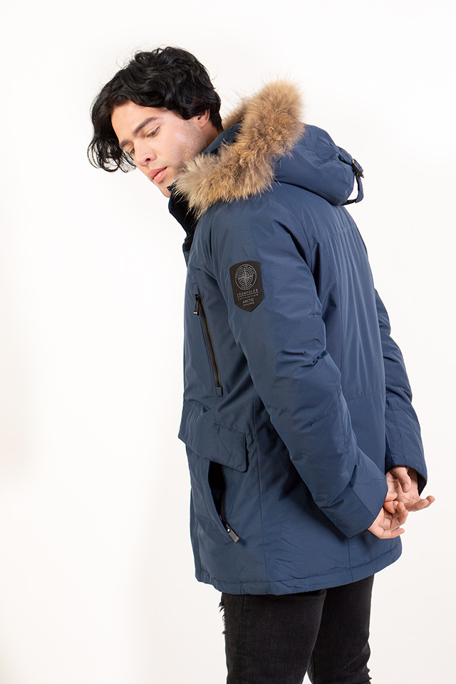 """Мужской пуховик синего цвета,зимний мужской пуховик с капюшоном с натуральным мехом енота.Пуховик мужской-крой """"Аляска"""""""