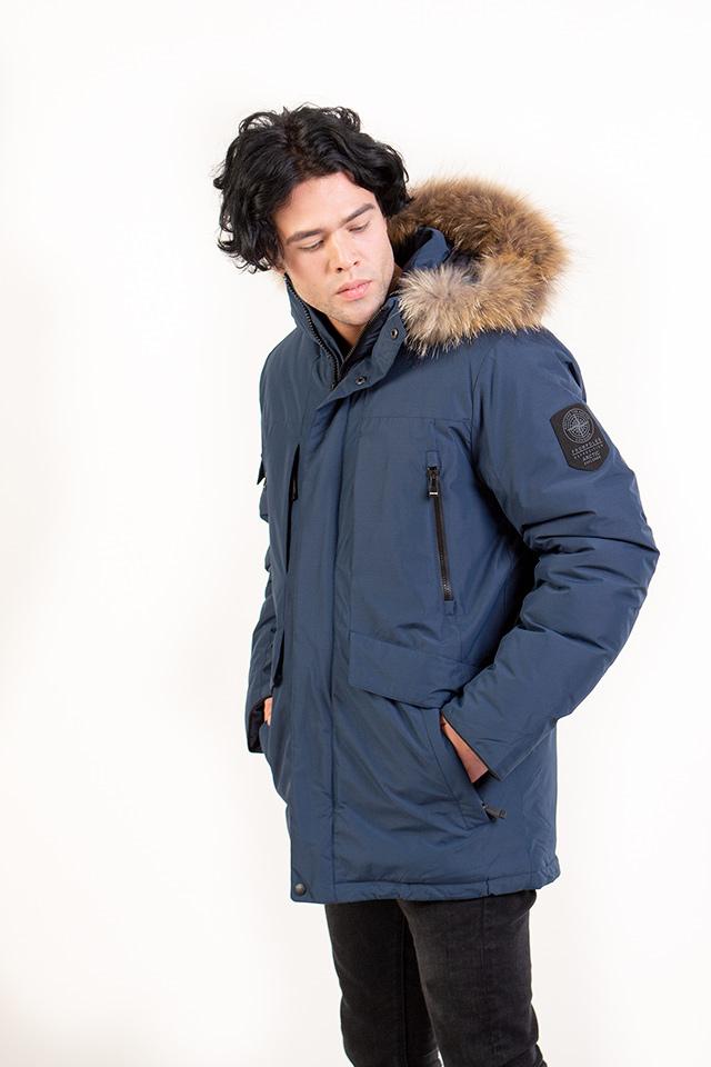 Мужская зимняя куртка-Аляска, пуховик мужской  на изософте с добавлением верблюжей шерсти, голубой мужской пуховик с капюшоном с натуральной опушкой.