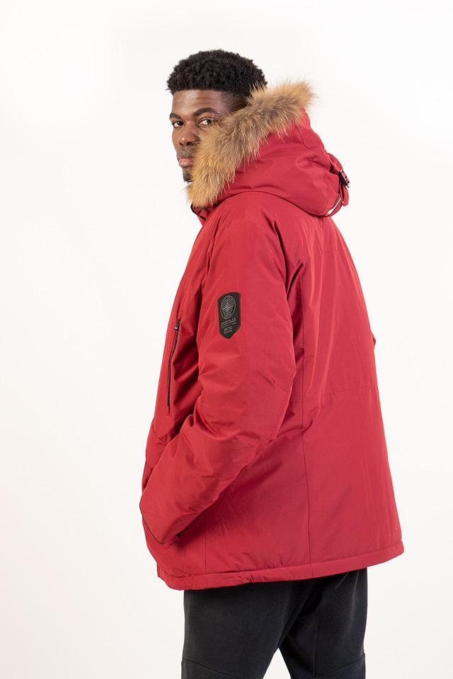 Мужская куртка - Аляска, пуховик мужской на изософте с довавлением верблюжей шерсти, теплый мужской пуховик бордового цвета, зимняя мужская куртка с капюшоном с натуральной опушкой.