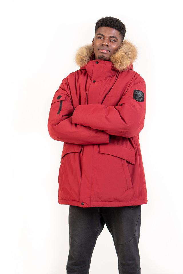 Зимняя мужская куртка - Аляска, пуховик мужской бордового цвета , мужской пуховик с капюшоном с опушкой из натурального меха, теплая мужская куртка на изософте.