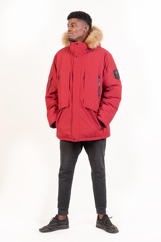 """Зимняя мужская куртка - """"Аляска"""" бордового цвета, мужской пуховик с капюшоном с опушкой из натурального меха, Аляска на изософте с добавлением верблюжей шерсти."""
