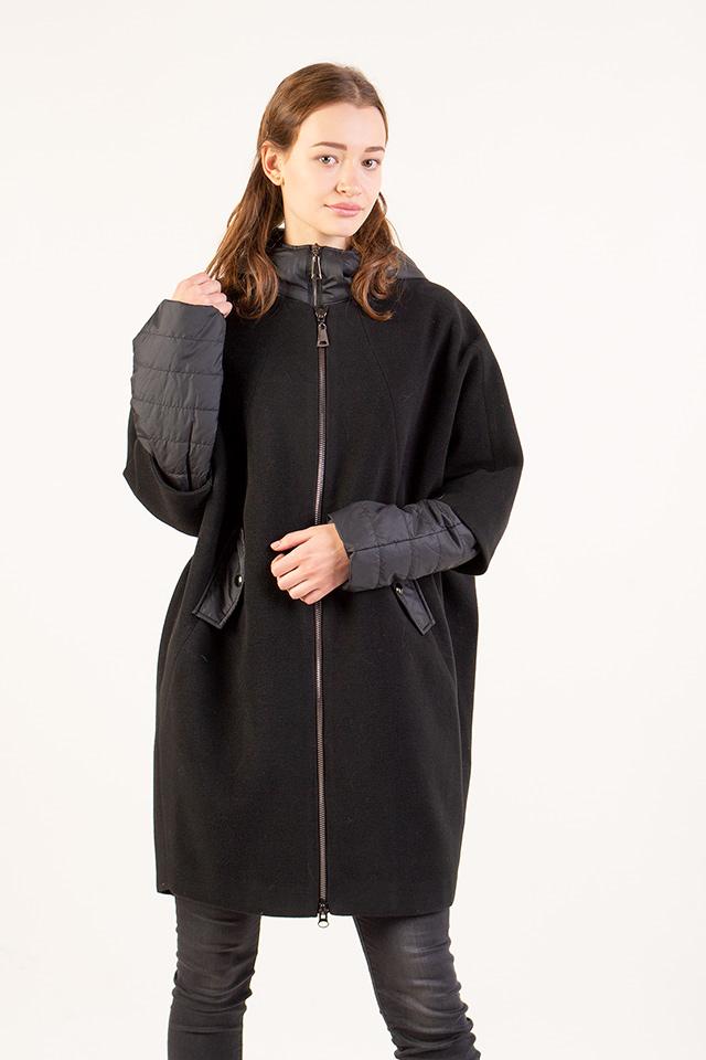 Осеннее женское пальто трансформеров чёрного цвета с капюшоном застраивается на молнию ткань кашемир